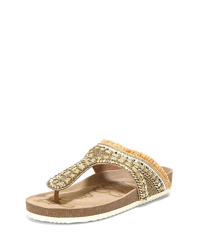 Olivie Embellished Satin Thong Sandal