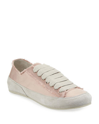 PEDRO GARCIA Parson Satin Low-Top Lace-Up Sneakers in Chiffon