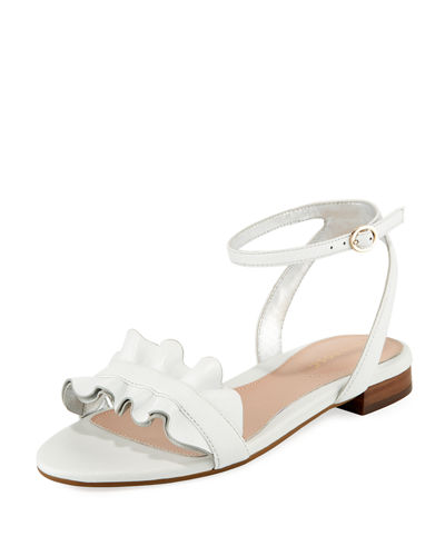 Vesta Ruffle Leather Flat Sandals
