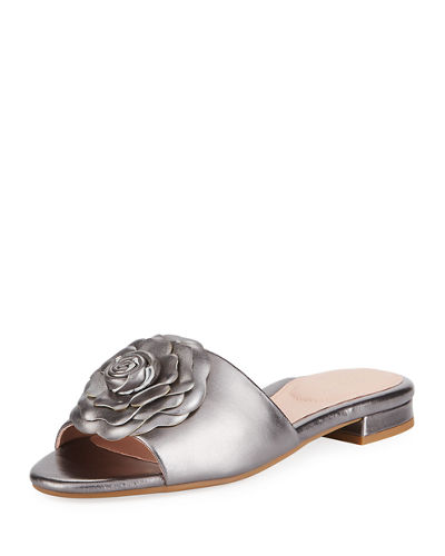 Violet Flat Floral Metallic Leather Slide Sandal