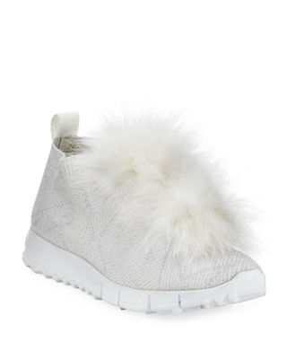 Jimmy Choo Norway Metallic Sneakers With Fur Trim