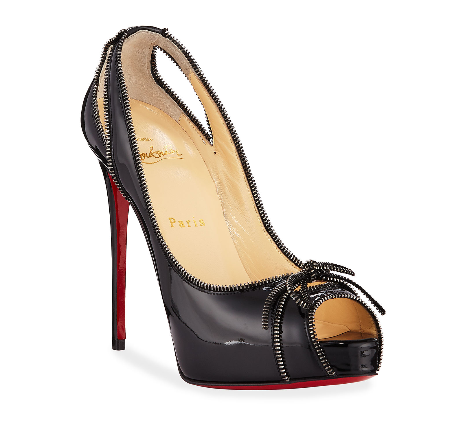 f64ed8050 Man Woman Christian Louboutin Colbina Zipper-Trim Patent Red Sole Pump  Special Sale 7823f6