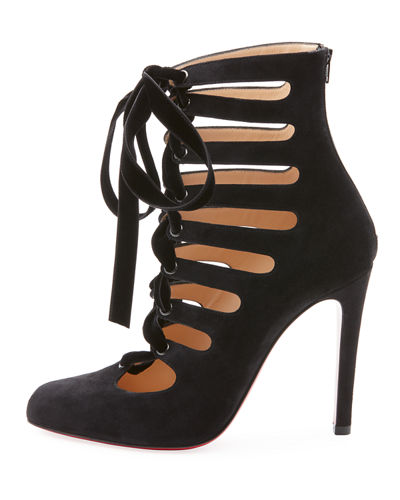 Spinetita Cutout Laced Suede Red Sole Bootie