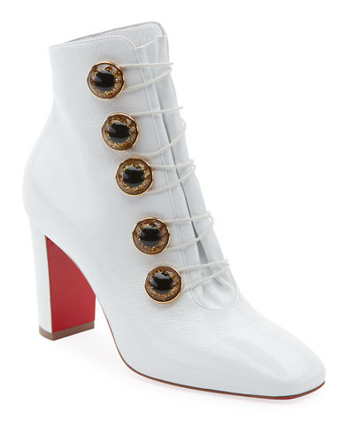 Lady See Patent Button Red Sole Bootie