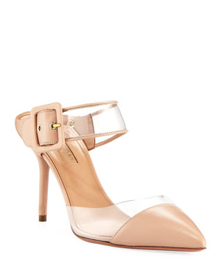 Optic 85 Leather-Trimmed Mules, Powder Pink