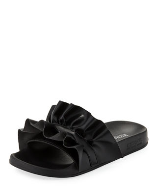Bella Ruffled Leather Sport Slide Sandals in Black