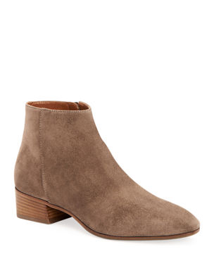 Aquatalia Fuoco Low-Heel Suede Zip Booties 73ee98238ce31