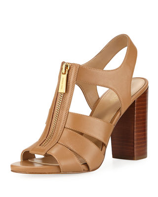 MICHAEL Michael Kors Damita Front-Zip Leather Block-Heel Sandal