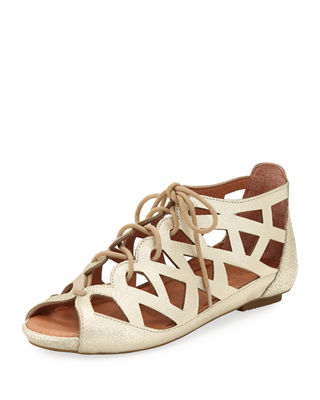 Gentle Souls Brielle Lace-Up Flat Cutout Comfort Sandal