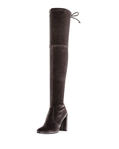 Highchamp Stretch Velvet Over-the-Knee Boot