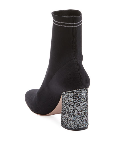 Glitter-Heel Metallic Sock Knit Bootie