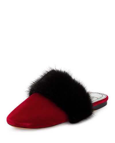 Bedford Velvet Mule with Fur Strap