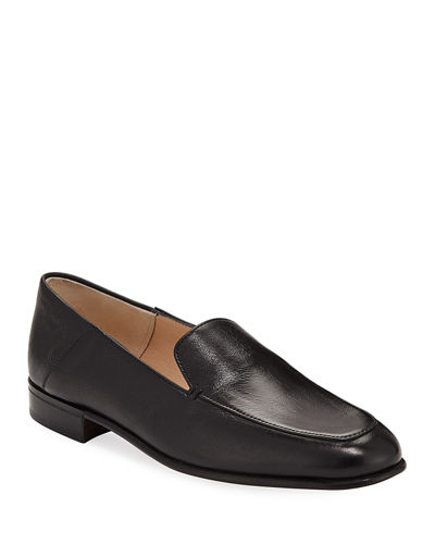 Flat Leather Step-Down Loafers