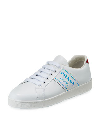 Prada Blue Logo Platform Low-Top Sneakers