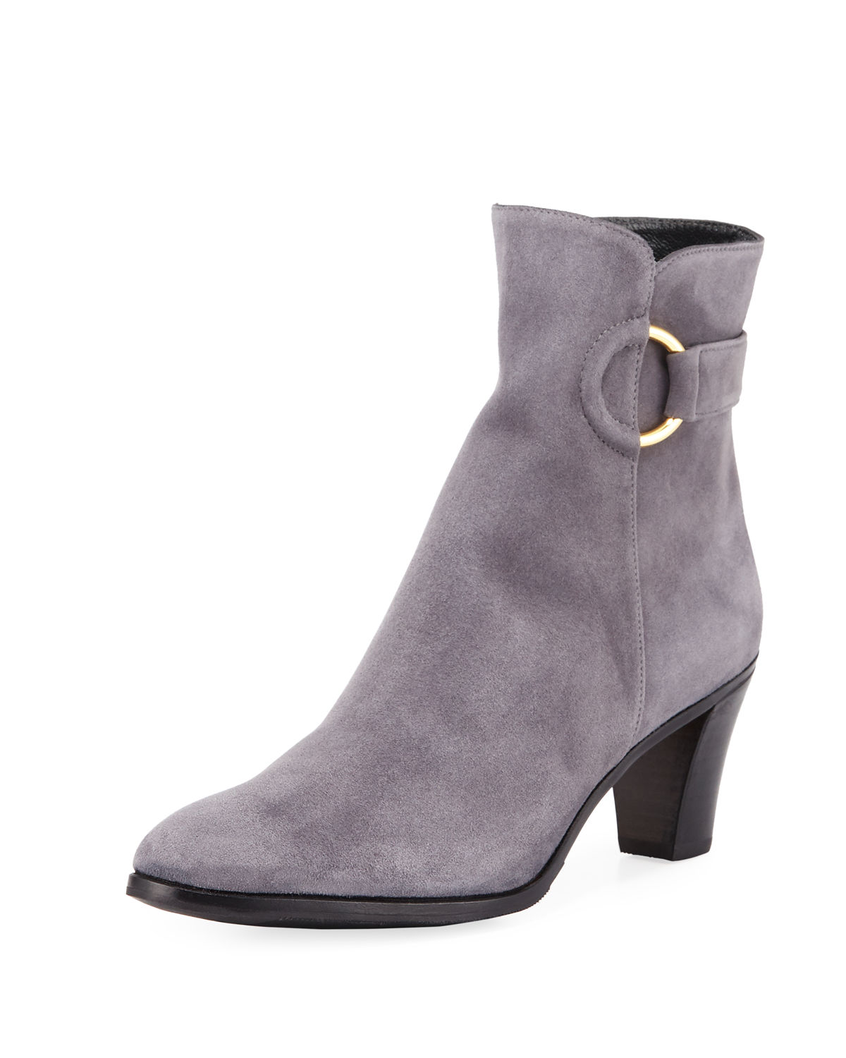 Suede Booties with Ring