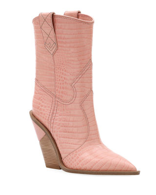 FENDI Embossed Leather Cowboy Boots, Baby Pink