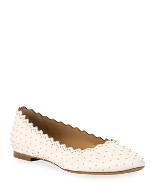 Chloe Lauren Scalloped Ballet Flats with Silver Studs