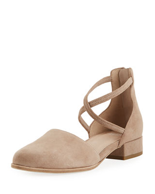 Eileen Fisher Lyton Suede Low-Heel Ankle-Wrap Flats