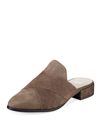Eileen Fisher Bauer Crisscross Flat Leather Mules