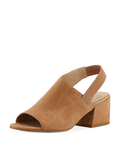 Leigh Nubuck Slingback Block-Heel Sandals