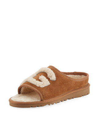 Image 1 of 4: Logo Shearling Slipper Slide