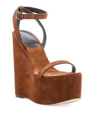 Saint Laurent Suede Wedge Platform Sandal