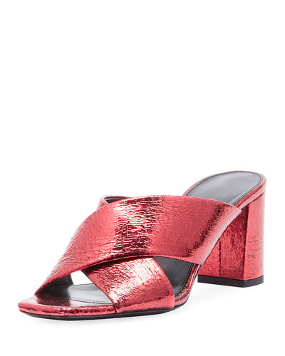 Saint Laurent LouLou Shiny Slide Sandal
