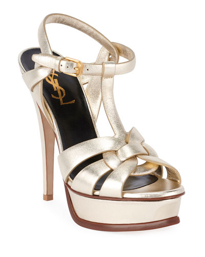 Tribute Metallic Leather Platform Sandals