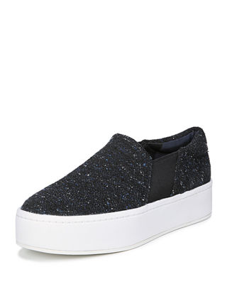 Women'S Warren Round Toe Slip-On Tweed Platform Sneakers in Navy