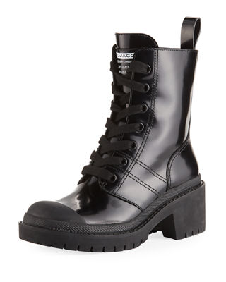 Bristol Lace-Up Chunky-Heel Leather Combat Boot, Black