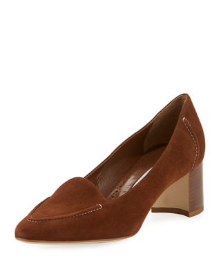 Manolo Blahnik Acorda 50mm Suede Loafer Pumps