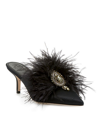 Elodie Feather Embellished Satin Mule, Perfect Black
