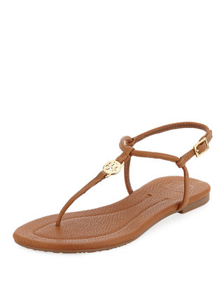 Emmy Flat Crackled Leather Sandal in Tan