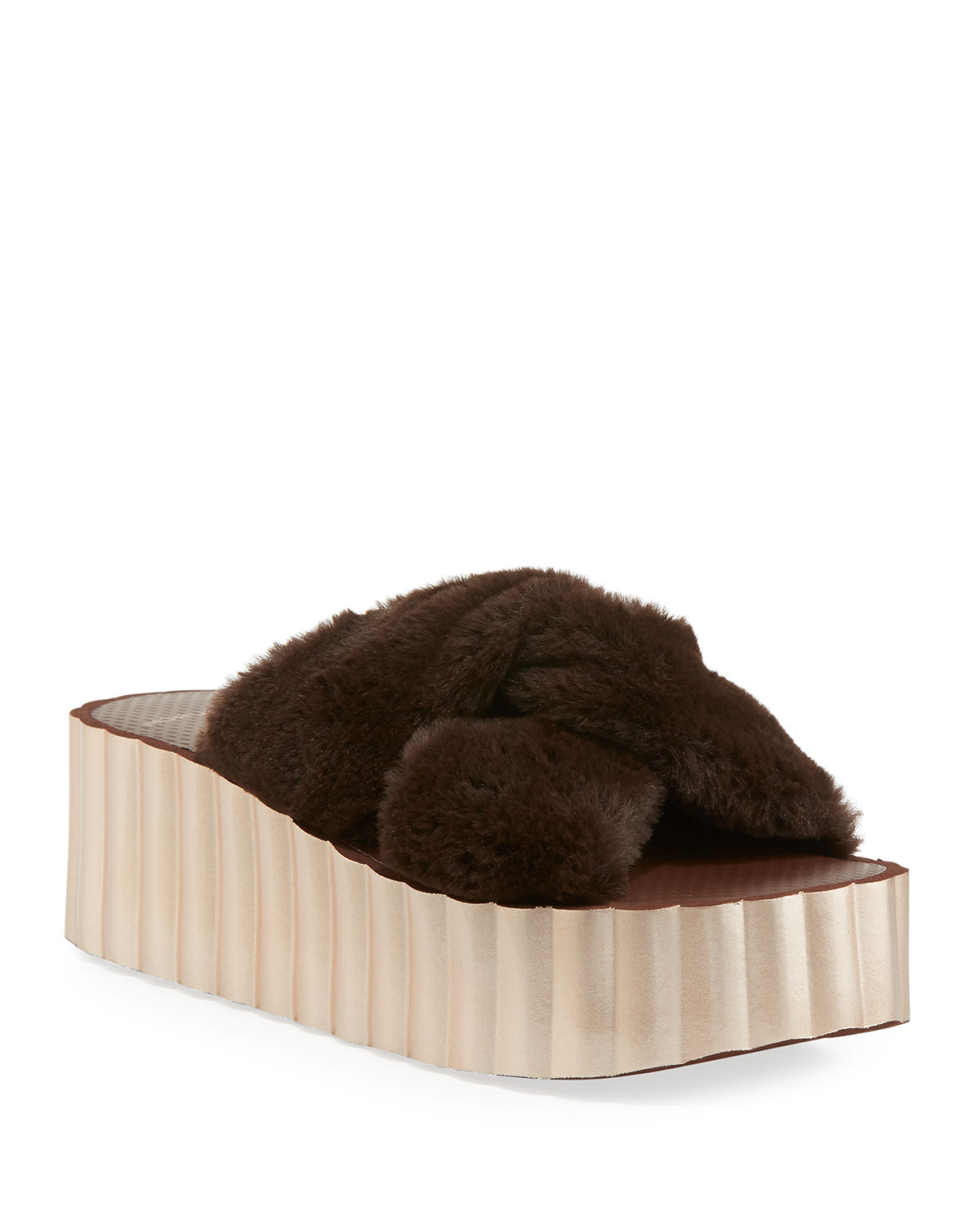 SCALLOP FAUX FUR WEDGE SLIDE 168 discount cheap online clearance lowest price cheap sale affordable kARjh
