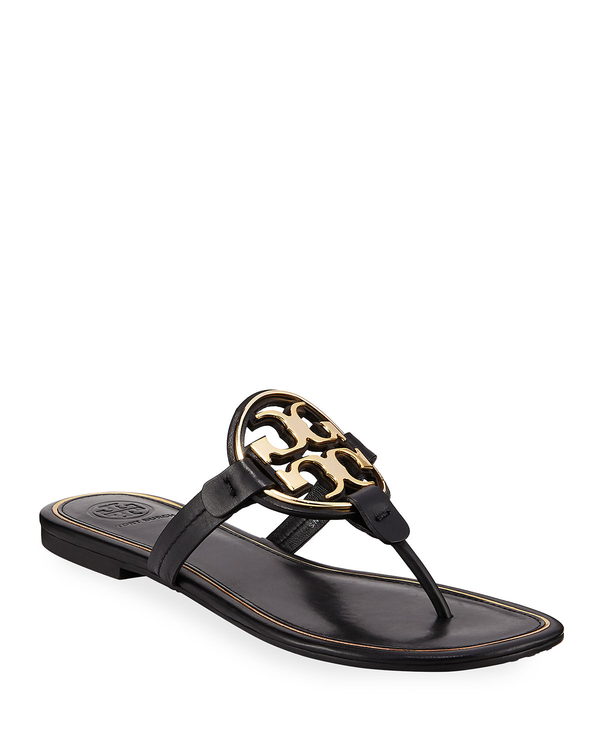 fb92f0b1da5f Tory Burch Miller Flat Metal Logo Slide Sandals