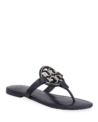 Women'S Metal Miller Leather Thong Sandals in Black