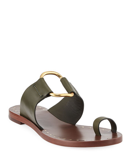 e75f66a33 Tory Burch Brannan Flat Studded Leather Slide Sandals In Leccio ...
