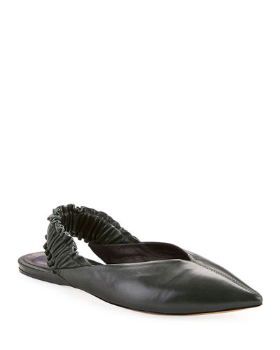 Linta Pointed-Toe Leather Slingback Flat