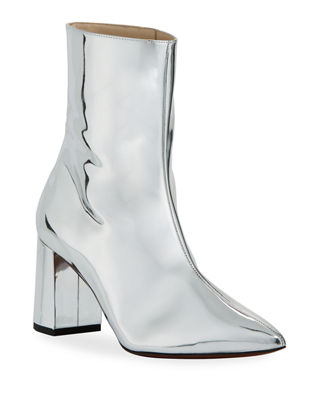 O JOUR Metallic Patent Leather Bootie in Silver