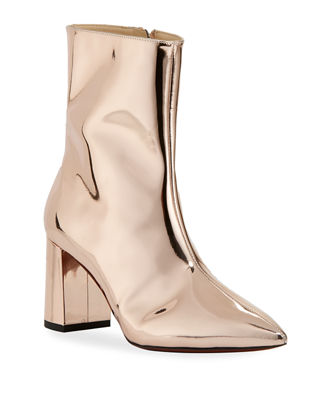 O JOUR Metallic Patent Leather Bootie in Pale Rose