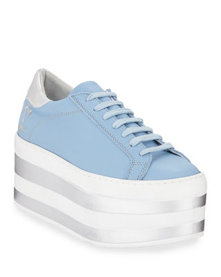 O JOUR Lace-Up Patent Platform Sneakers in Pastel Sky Blue