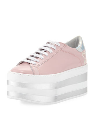 O JOUR Lace-Up Patent Platform Sneakers in Pastel Rose