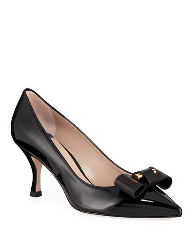 Belle Pointe Shiny Leather Bow Mid-Heel Pumps