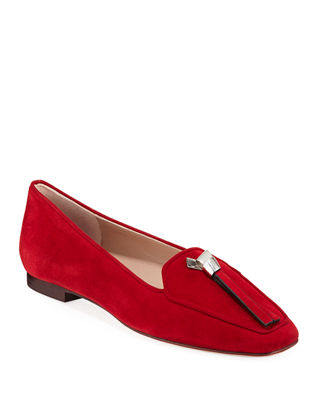 Slipknot Easy Flat Suede Loafers, Crimson