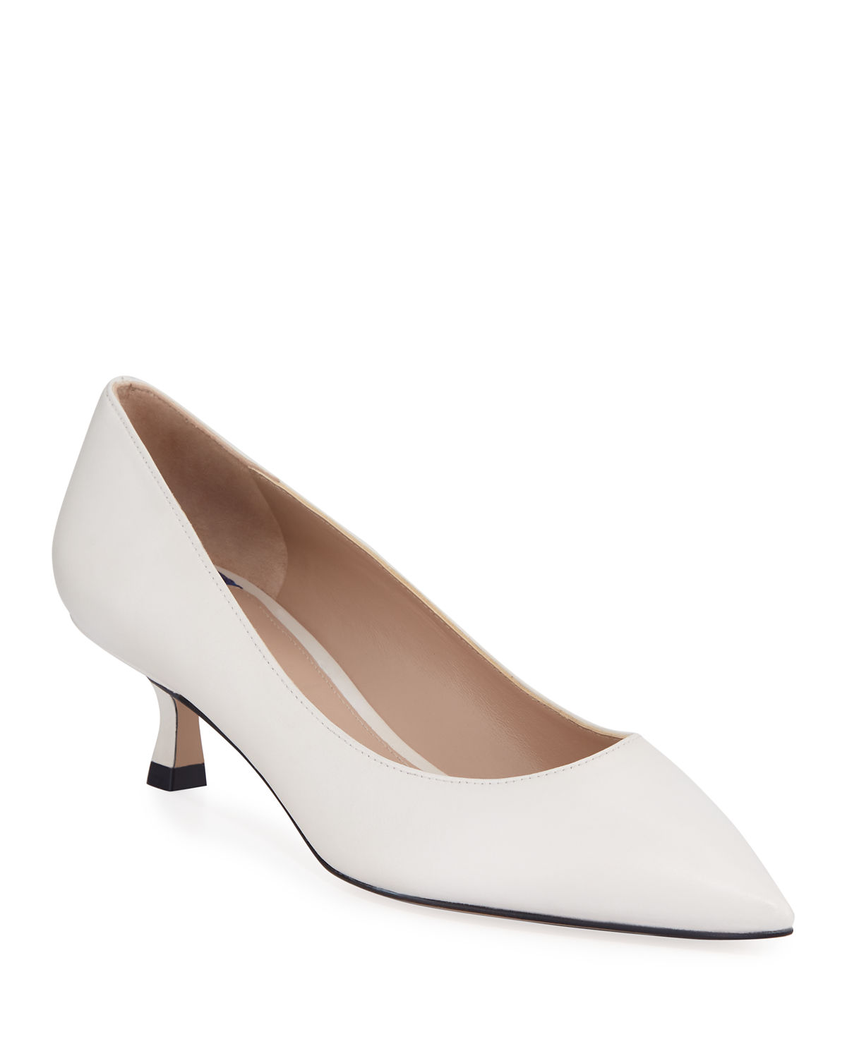e3e1fccc969 Stuart Weitzman Tippi Low-Heel Leather Pointed-Toe Pumps