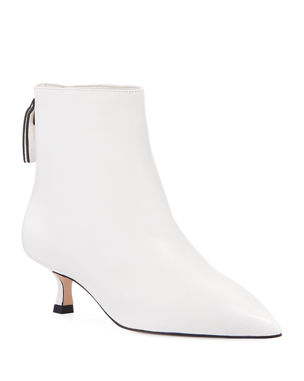 Stuart Weitzman Juniper Leather Kitten-Heel Booties