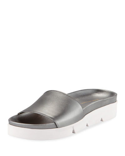 Landslide Metallic Leather Slide Sandal