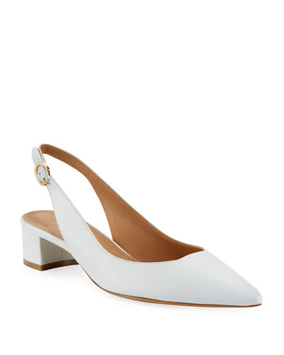 Low-Heel Lamb Leather Slingback Pump