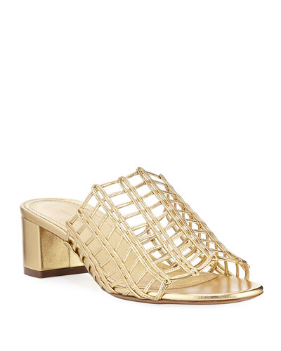 Grid Metallic Leather Cutout Block-Heel Mule Slide Sandals
