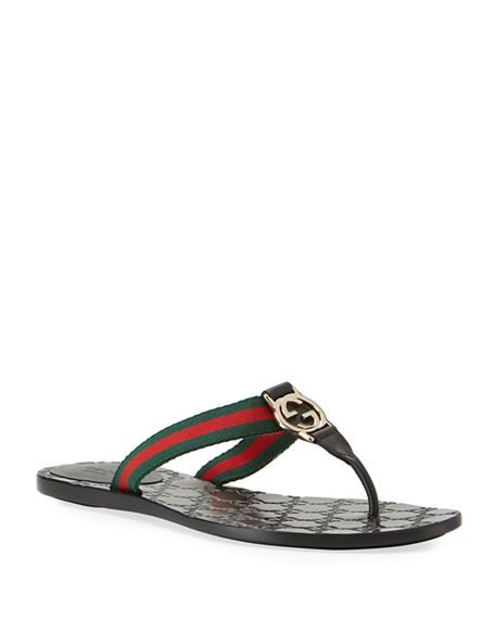 Gucci Leather   Nylon Thong Sandals - Black Size 6.5  1d00acd42b28